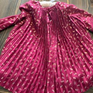 Wine colored dress with gold feather print